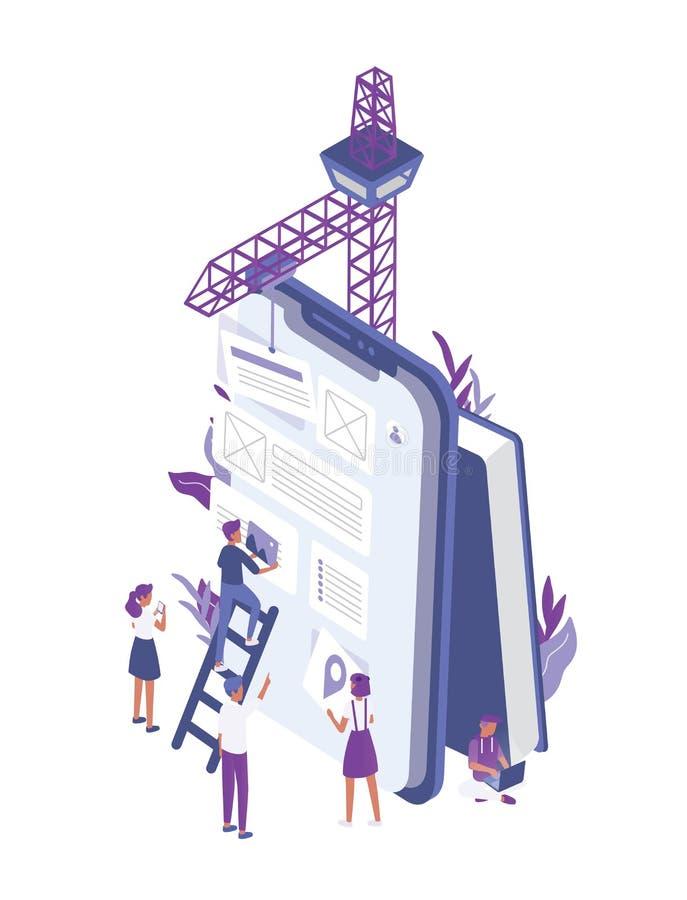 Groep uiterst kleine mensen die of mobiel app ontwerp creëren bouwen op reuzetabletpc Beambten die in interface werken en vector illustratie