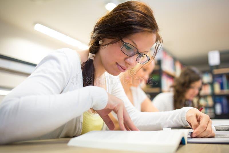 Groep universitaire studenten die hard voor een examen bestuderen royalty-vrije stock fotografie