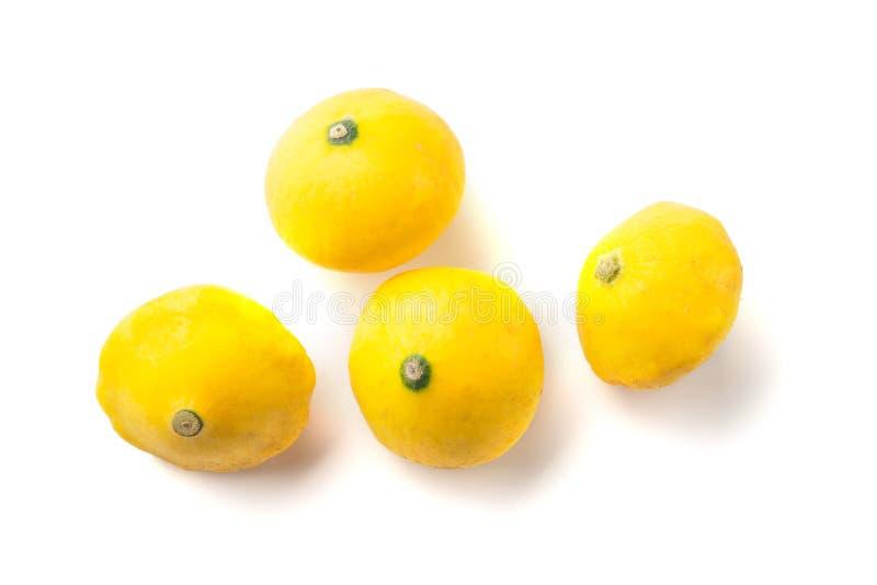 Groep van de baby de Gele die Pompoen op wit wordt geïsoleerd stock afbeeldingen
