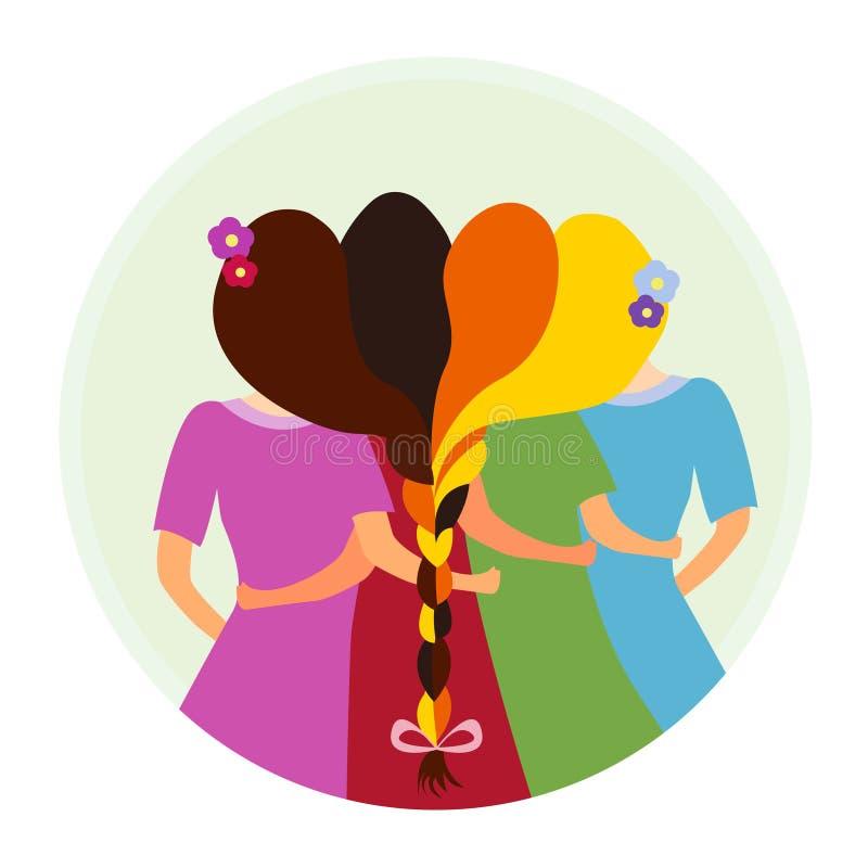 Groep van de zusterschap de vectorillustratie Pictogram van meisjeszusters stock foto's