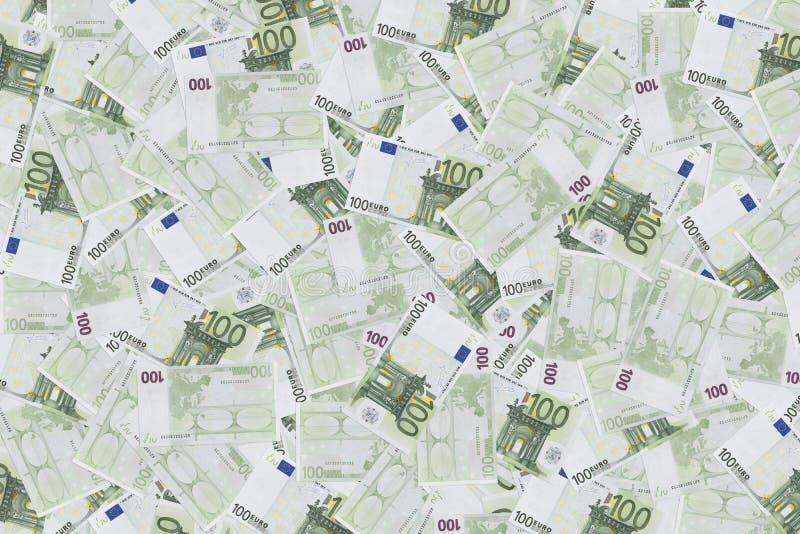 Groep van 100 euro nota's achtergrond van bankbiljetten in 100 euro Geldtextuur Europese Munt stock afbeelding