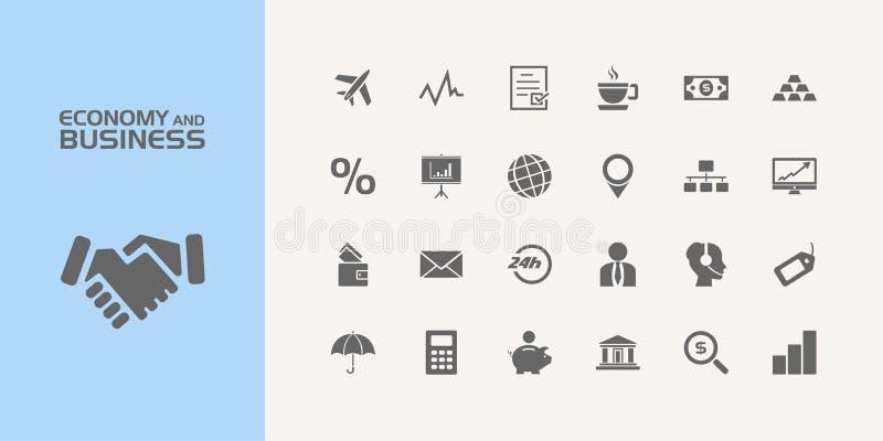 Groep van twintig economie en bedrijfspictogrammen royalty-vrije illustratie