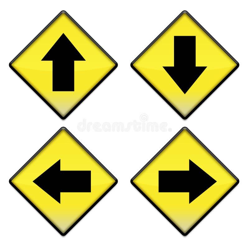 Groep van vier gele verkeersteken met pijlen stock foto