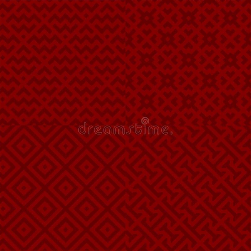 Groep van vier naadloze regelmatige geometrische achtergronden royalty-vrije illustratie