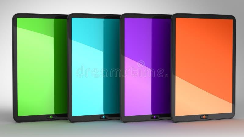 Groep van vier PCs van Tabletten met gekleurde vertoningen vector illustratie