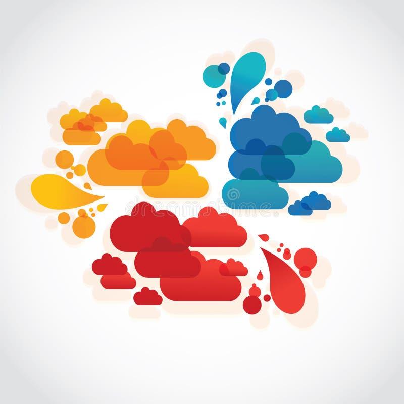 Groep van vier wolken van de lavatoespraak stock illustratie