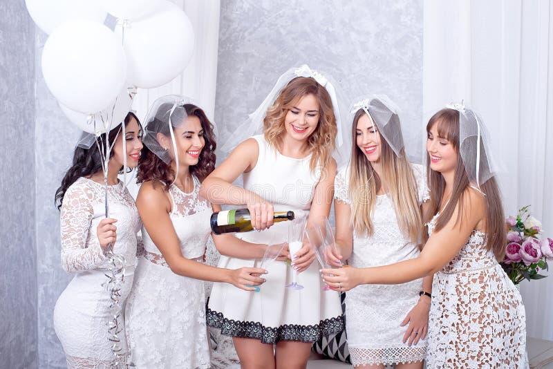 Groep van vijf gelukkige elegante vrouwelijke vrienden royalty-vrije stock afbeeldingen
