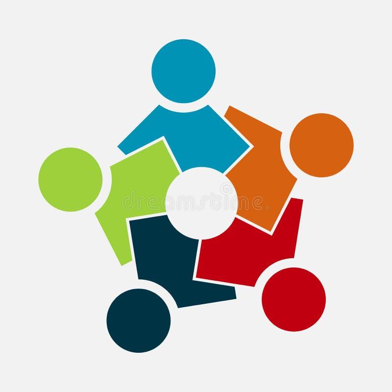 Groep van vijf mensen in een cirkel Groepswerkvergadering de mensen komen in de ruimte samen Krachtige gecombineerde krachten stock illustratie