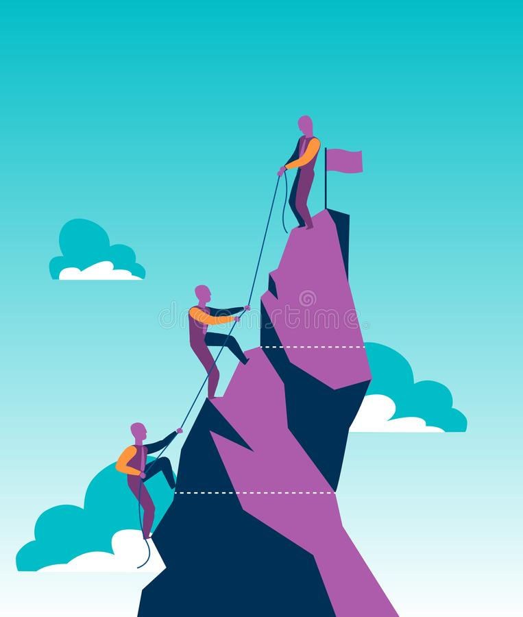 Groep verkopers op een berg die de piek proberen te bereiken vector illustratie