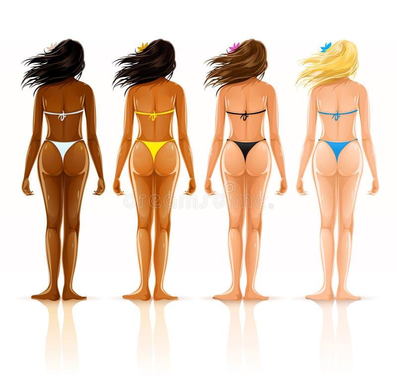 Groep verschillende mooie meisjes in bikini stock illustratie