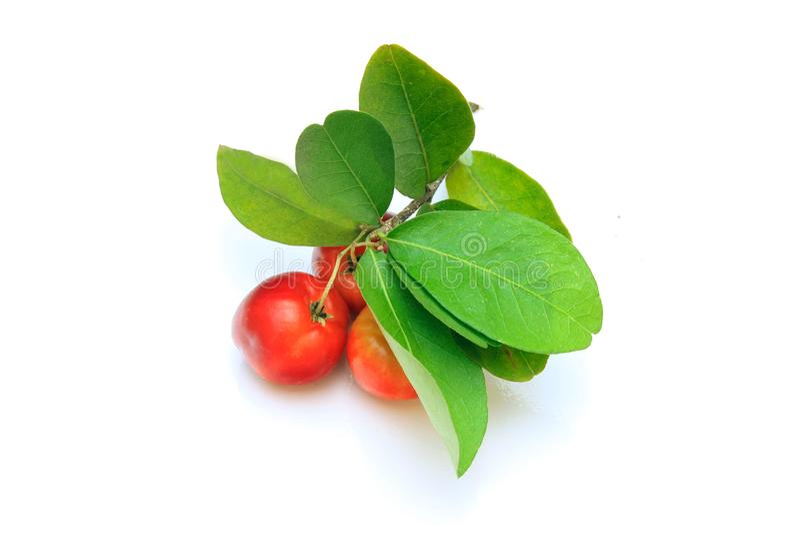 Groep verse organische acerola met groene die bladeren, op witte achtergrond met het knippen van weg wordt geïsoleerd stock fotografie