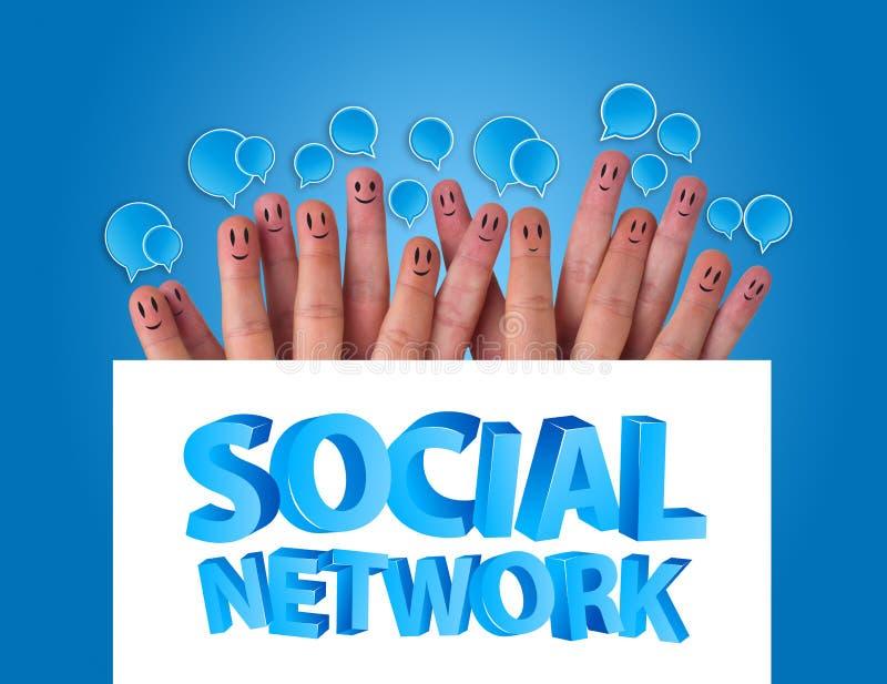 Groep vinger smileys met sociaal netwerk s royalty-vrije stock afbeelding