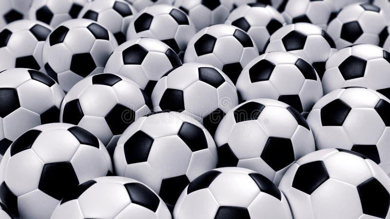 Groep voetbalballen stock foto