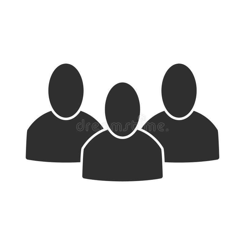 Groep volkeren Klein conferentie of bedrijf Drie volkeren of personeels vlak pictogram royalty-vrije illustratie