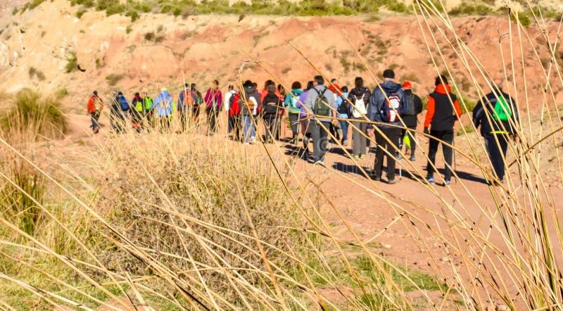 groep volwassen mensen met kleurrijke rugzaktrekking op een weg van zand en stenen die aan berg met een verbazend landschap lopen stock foto's