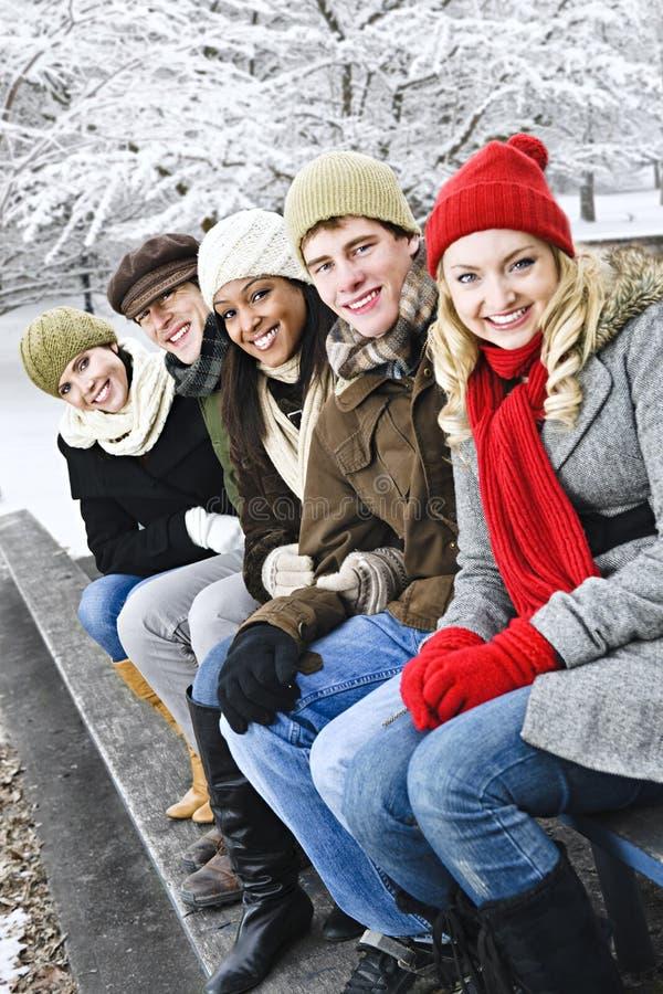 Groep vrienden buiten in de winter stock afbeelding