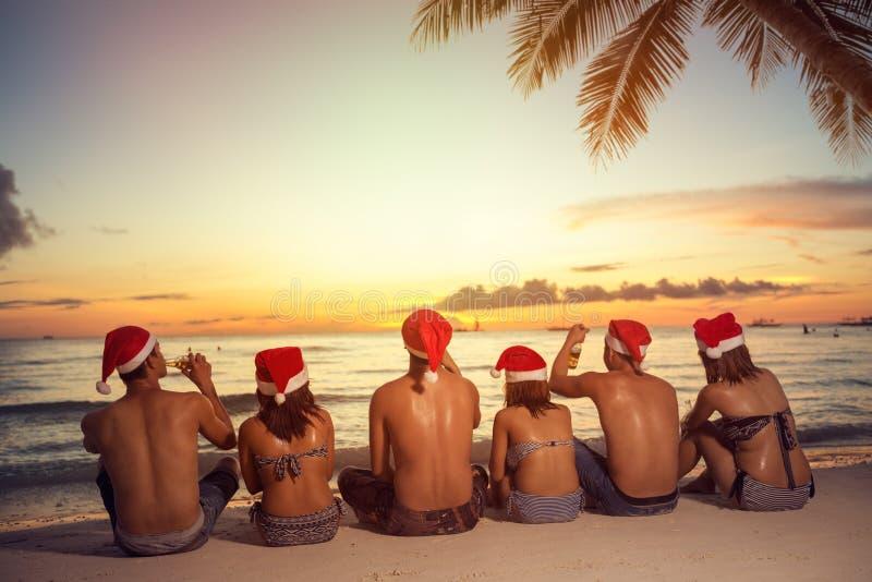 Groep vrienden in de hoeden van de santahelper op strand stock fotografie