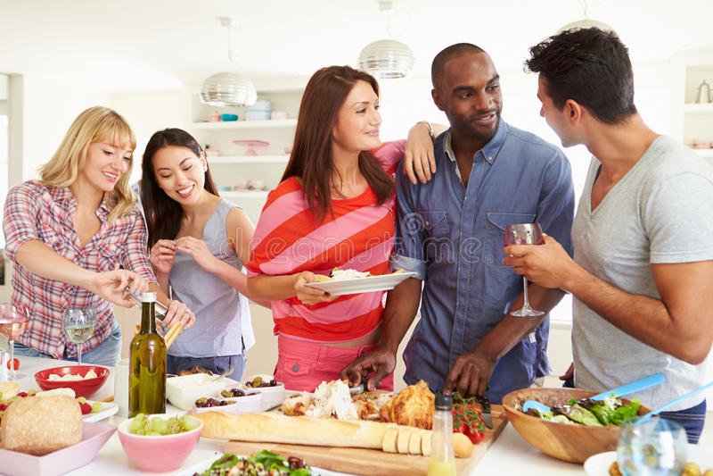 Groep Vrienden die Dinerpartij hebben thuis stock afbeelding