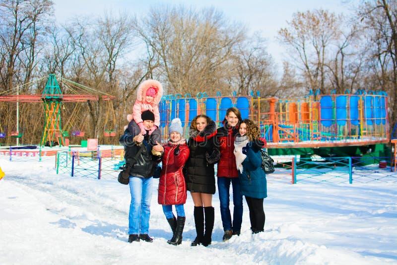 Groep vrienden die in het park in de winter stellen royalty-vrije stock fotografie