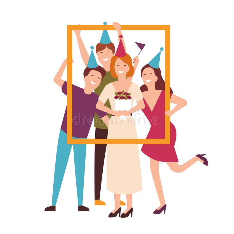 Groep vrienden die kegelhoeden dragen die verjaardag vieren en portretkader houden Mensen bij feestelijke partij vlak royalty-vrije illustratie