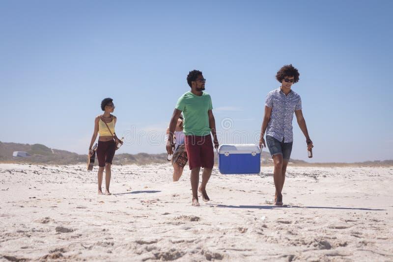 Groep vrienden die van het ijsdoos en bier flessen op strand dragen royalty-vrije stock afbeelding