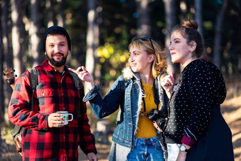 Groep vrienden op een wandelingsreis in bos royalty-vrije stock afbeelding