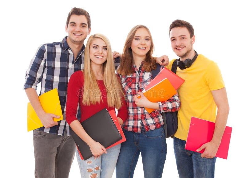 Groep vrolijke studenten stock afbeeldingen