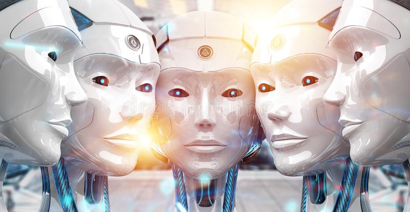 Groep vrouwelijke robots dicht bij elke anderen cyborg legerconcept het 3d teruggeven royalty-vrije illustratie