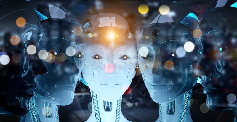 Groep vrouwelijke robots dicht bij elke anderen cyborg legerconcept het 3d teruggeven stock illustratie