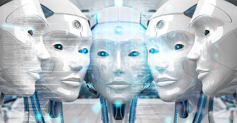 Groep vrouwelijke robotshoofden die het digitale de hologramschermen 3d teruggeven gebruiken vector illustratie
