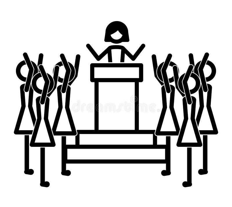 Groep vrouwen in toespraaksilhouetten royalty-vrije illustratie