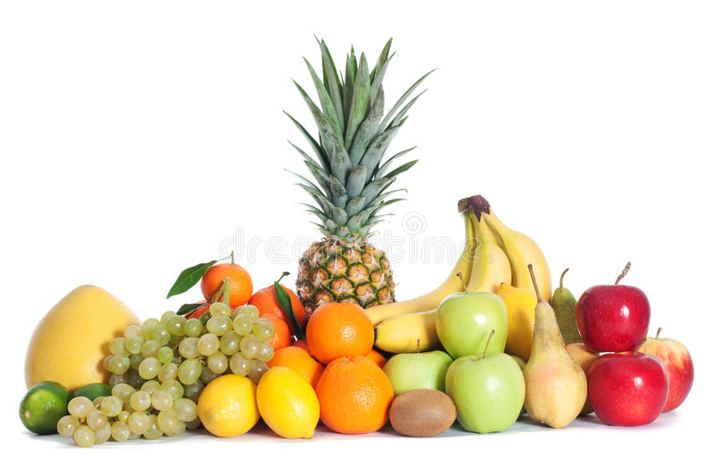 Groep vruchten stock afbeeldingen