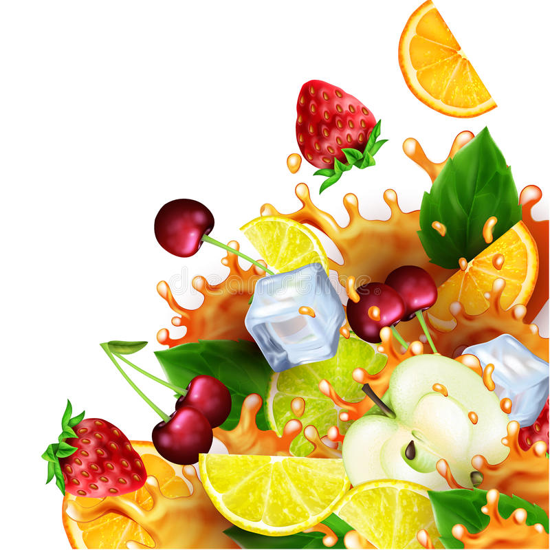 Groep vruchten en ijsblokjes met realistische plonsen van sap royalty-vrije illustratie