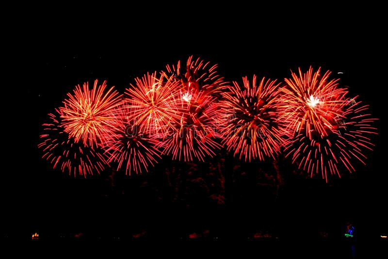 Groep vuurwerk in hemel royalty-vrije stock afbeelding