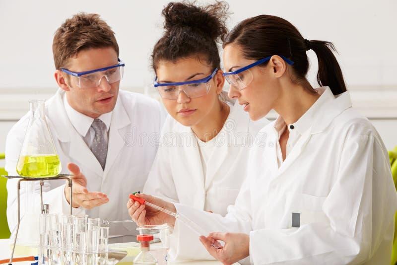 Groep Wetenschappers die Experiment in Laboratorium uitvoeren royalty-vrije stock afbeelding