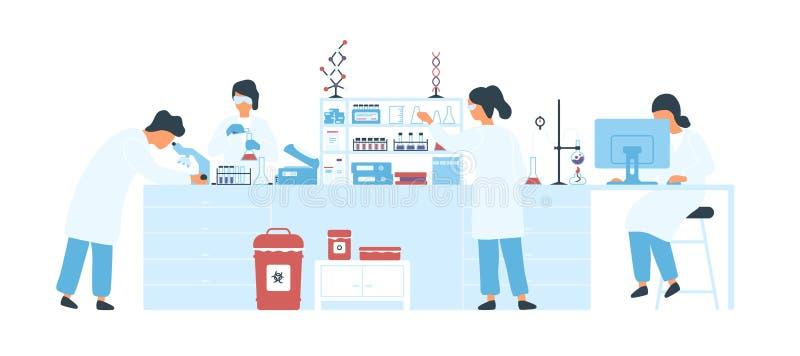 Groep wetenschappers die witte lagen dragen die experimenten in wetenschapslaboratorium leiden Mannelijke en vrouwelijke onderzoe vector illustratie