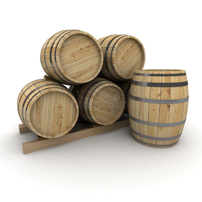 Groep wijnvatten stock illustratie