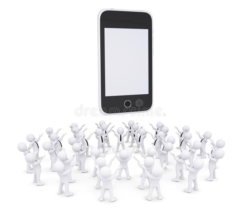 Groep witte mensen die smartphone worshiping stock illustratie