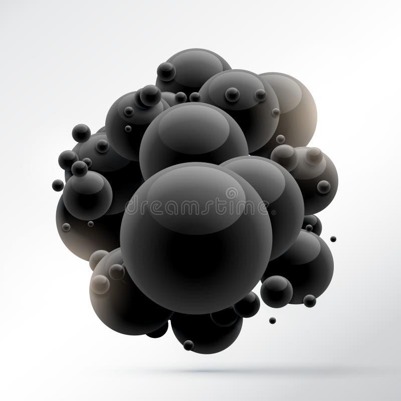 Groep zwarte molecules vector illustratie