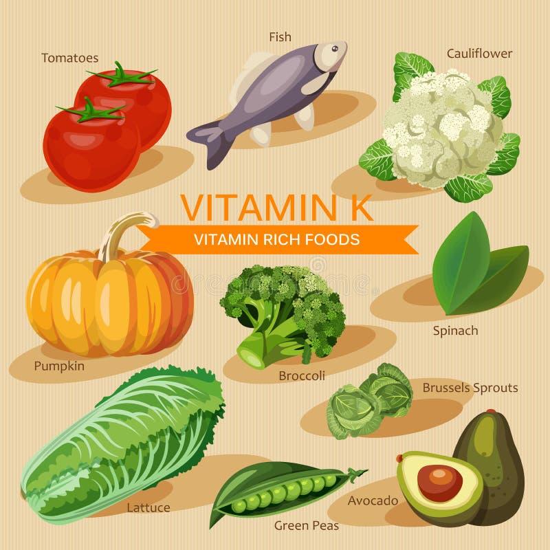 Groepen gezond fruit, groenten, vlees, vissen en zuivelproducten die specifieke vitaminen bevatten Vitamine K stock illustratie