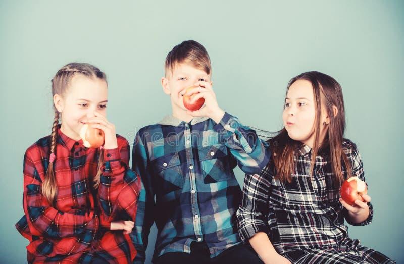 Groeperige tieners die plezier hebben en appels eten Teens met gezonde snack Gezonde eetgewoonten en vitaminestroom stock afbeeldingen