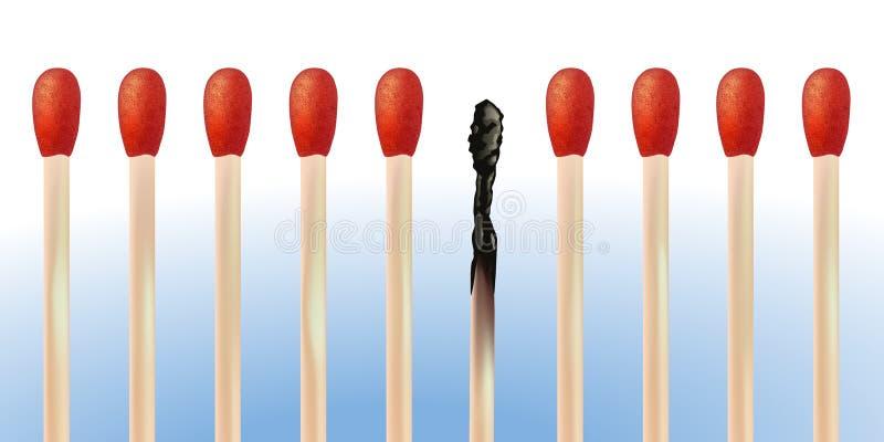 Groepering van gelijken met gebrand, symbool van het risico van brand royalty-vrije illustratie