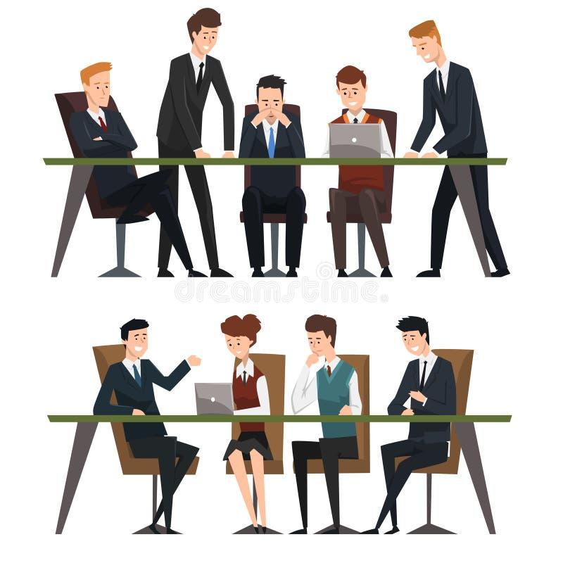 Groeps bedrijfsmensen die in bureau werken De mensen kleedden zich in klassieke zwarte kostuums en banden Het hulpwerk aangaande  stock illustratie