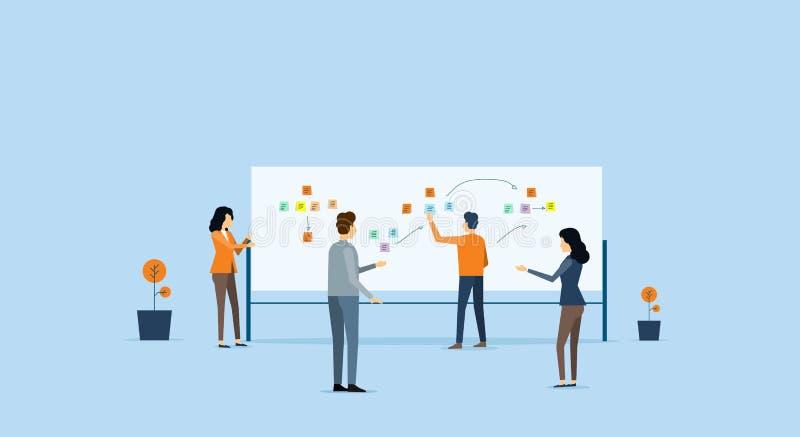 Groeps commerciële teamvergadering en projectbrainstorming royalty-vrije illustratie