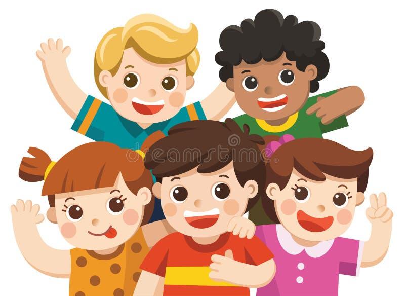 Groeps het beste vrienden gelukkige glimlachen van, het koesteren van en het golven van hun handen stock illustratie