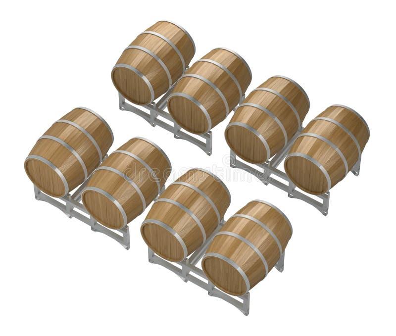 Groeps houten wijnvatten royalty-vrije illustratie