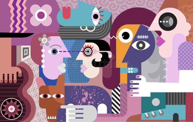 Groeps mensen het moderne kunst schilderen royalty-vrije illustratie
