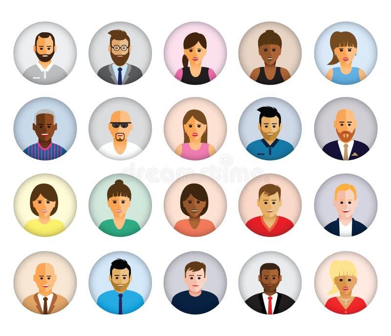 Groeps mensen profielen vector illustratie