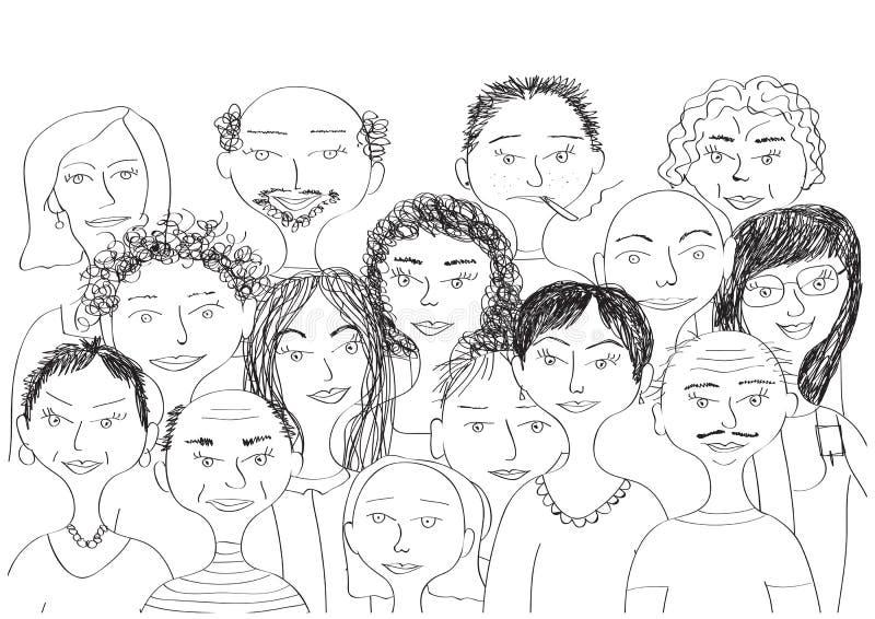 Groeps mensen schets vector illustratie