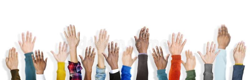 Groeps Multi-etnisch Divers Handen Opgeheven Concept royalty-vrije stock afbeelding